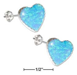 sterling silver synthetic blue opal heart earrings