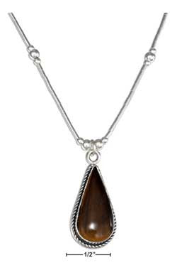 "sterling silver 16"" liquid silver roped teardrop tiger eye necklace"