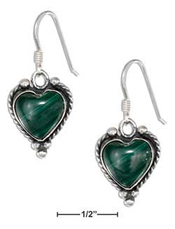 sterling silver simulated malachite heart earrings with roped border