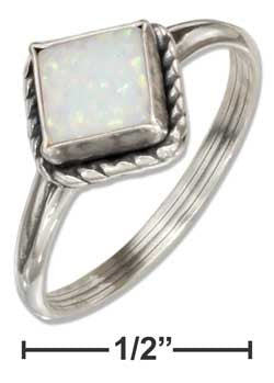 sterling silver roped square synthetic white opal ring