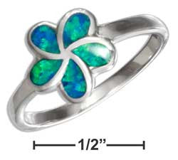 sterling silver synthetic blue opal flower ring