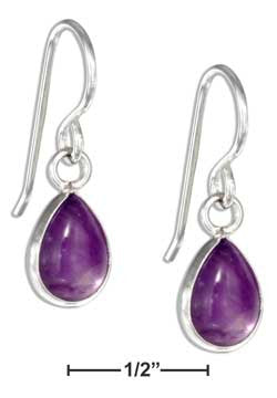 sterling silver teardrop amethyst cabochon earrings