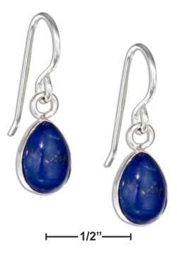 sterling silver teardrop lapis cabochon earrings
