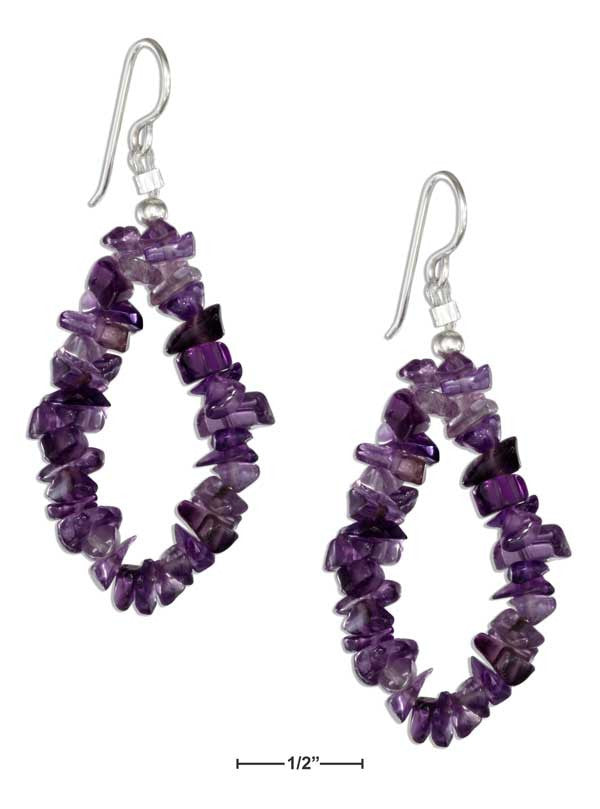 Sterling Silver Amethyst Nugget Loop Earrings