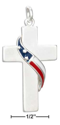 sterling silver cross charm with enamel flag wrap