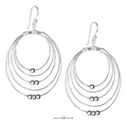 Sterling Silver concentric wire circles earrings