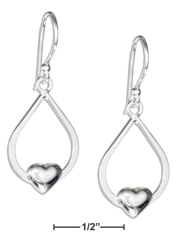 Sterling Silver Teardrop Earrings With Heart