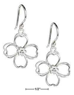 sterling silver wire double open petal, flower earrings