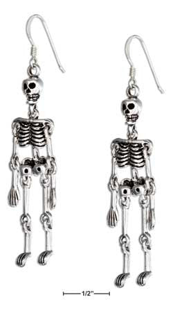 sterling silver movable skeleton earring-french wires