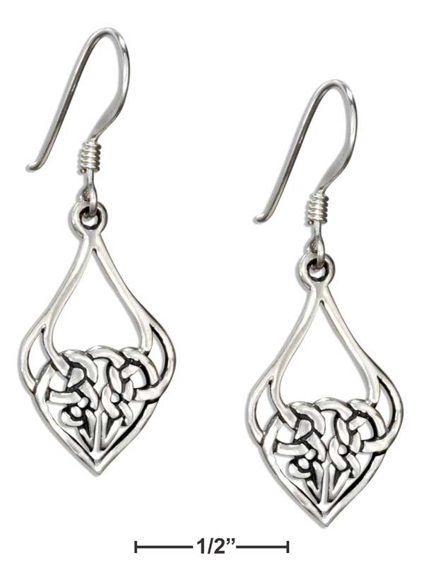 Sterling Silver Celtic Knotted Heart Teardrop Dangle Earrings
