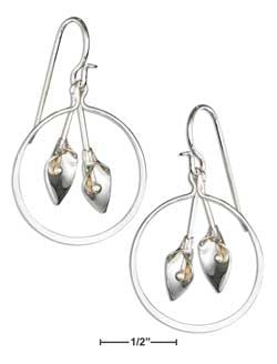 Sterling silver circle earrings with calla lily dangles