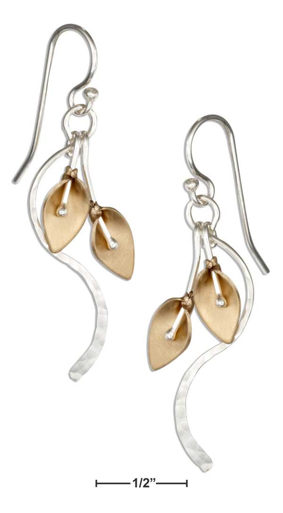Sterling Silver & 12 Karat Gold Filled Lilies & Vine Earrings