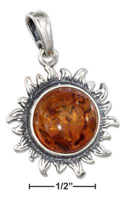 sterling silver antiqued honey amber sun pendant