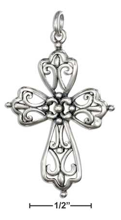 sterling silver pointed filigree cross charm