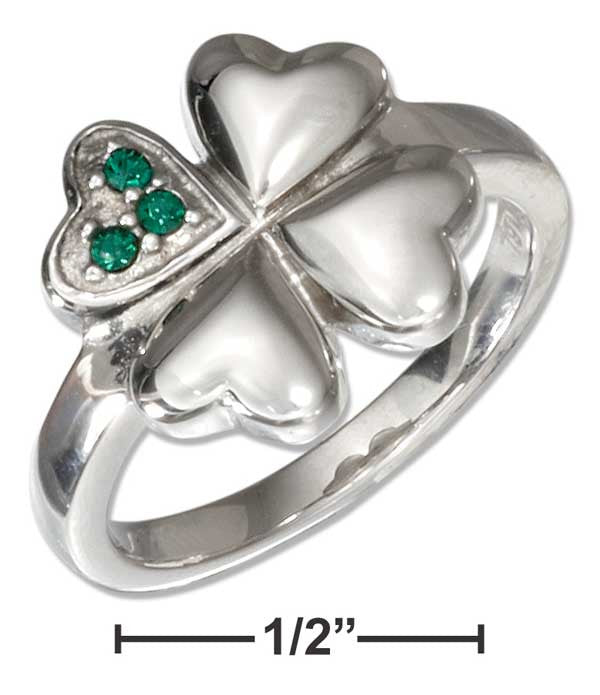 Stainless steel four leaf clover ring with green cubic zirconias