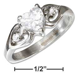stainless steel cubic zirconia heart ring with cubic zirconia accents