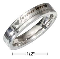 "Stainless steel ""Forever love"" message band ring"