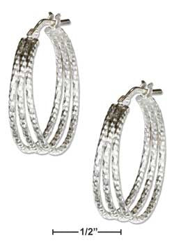 sterling silver 20mm textured three wire hoop earrings