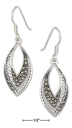 sterling silver art deco marquise shape marcasite earrings