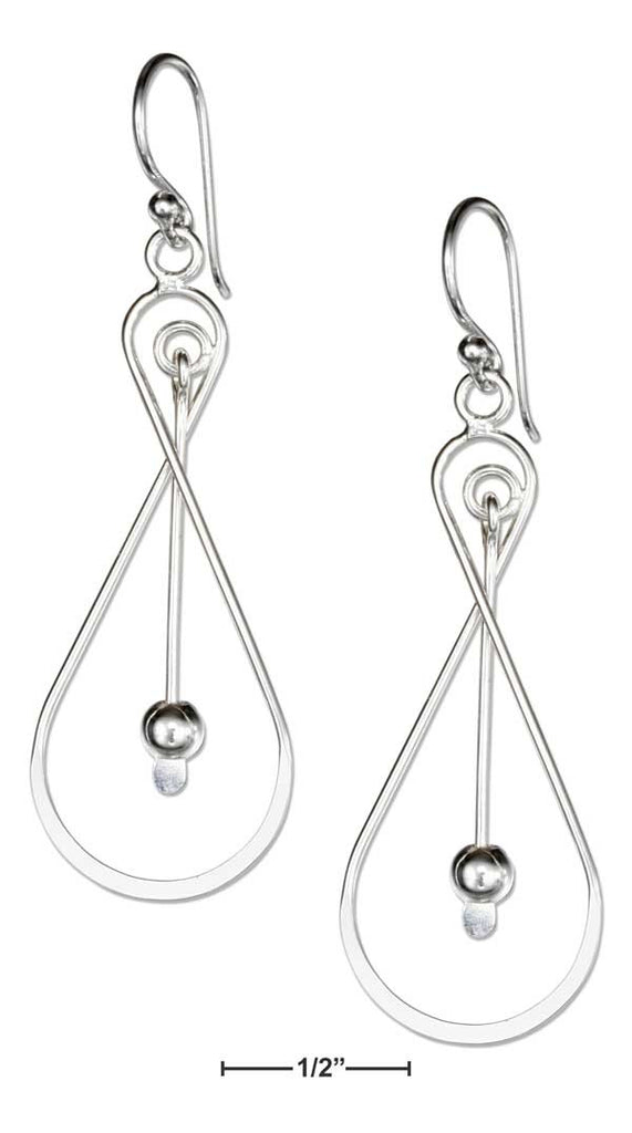 Sterling Silver Wire Infinity Knot Earrings W/Ball & Paddle dangle