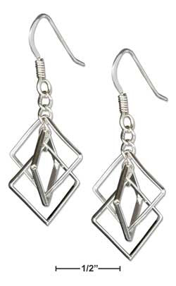 sterling silver interlocked triple square wire earrings