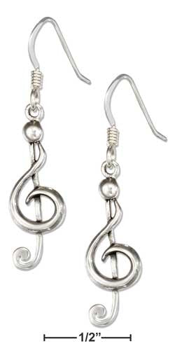 sterling silver musical G-cleff earrings
