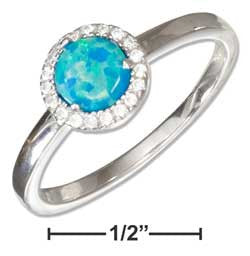sterling silver syn blue opal ring w micro pave cz halo
