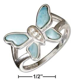 sterling silver cubic zirconia and larimar butterfly ring