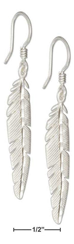 sterling silver feather earrings with french wire