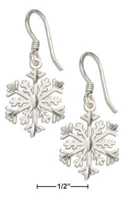 sterling silver diamond cut 12 points snowflake earrings