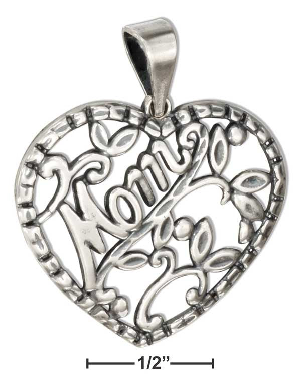 "Sterling Silver Diamond Cut Filigree Heart Pendant With ""MOM"" Script"