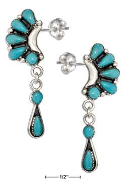sterling silver multi-stone sim turquoise crescent earrings w dangles