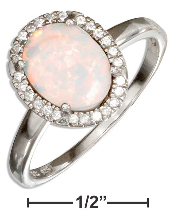 Sterling Silver Oval Synthetic White Opal Ring With Micro Pave Cubic Zirconia Halo