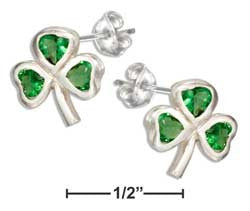 sterling silver green glass shamrock earrings