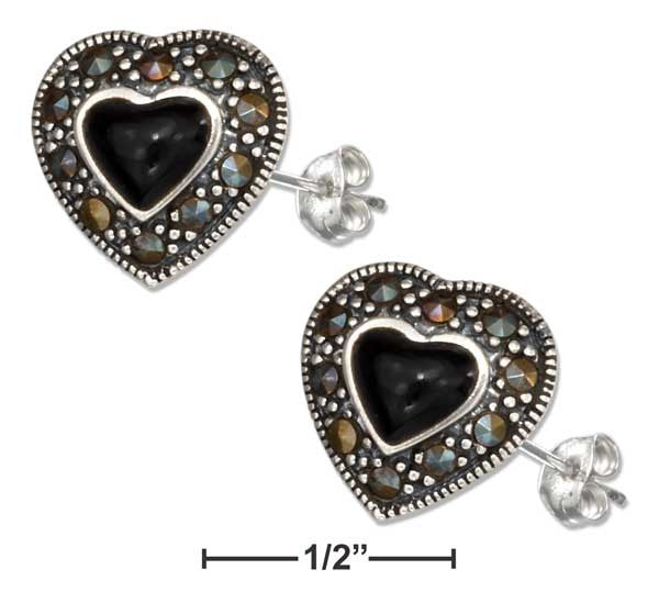 Sterling Silver Simulated Onyx Heart Earrings W/Marcasite Border