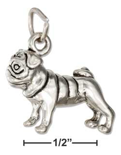 Sterling Silver Three Dimensional Pug Charm