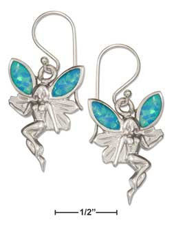sterling silver fairy earrings with synthetic blue opal wings