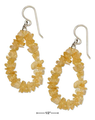 Sterling Silver Citrine Chip Loop Earrings