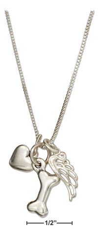 "Sterling Silver 18"" Dog Bone Necklace W/Heart & Angel Wing Charms"