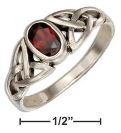 sterling silver celtic trinity knot ring with red glass oval