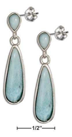 sterling silver post dangle larimar teardrop earrings