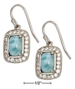 sterling silver cushion shape larimar earrings with pave cubic zirconia frame