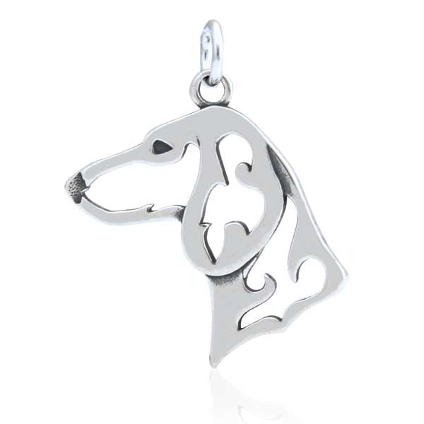 Sterling Silver Smooth-Coated Dachshund Pendant, Head
