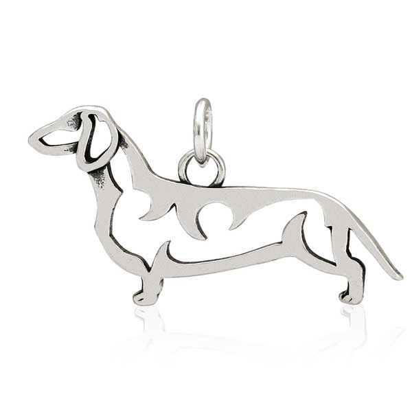 Sterling Silver Smooth-Coated Dachshund Pendant, Body