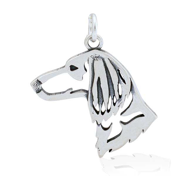 Sterling Silver Long-Haired Dachshund Pendant, Head