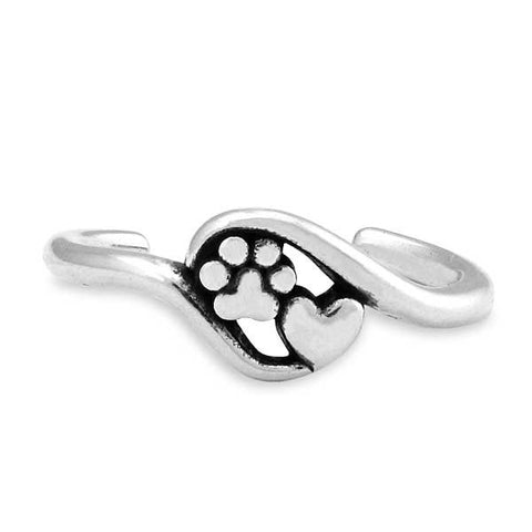 Sterling silver close to my heart, heart & dog paw print wrap toe ring