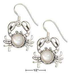 sterling silver crab with mother of pearl concho dangle earrings