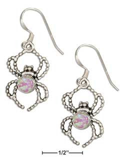 sterling silver spider w synthetic pink opal dangle earrings