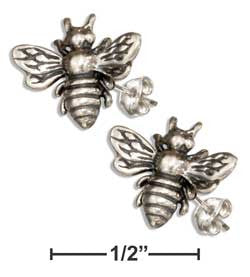 sterling silver mini bumble bee earrings-posts