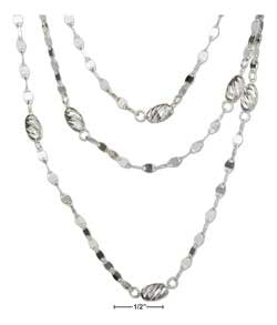 "sterling silver 16"" three strand twist link layered necklace with beads"